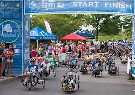 The start of the ride for the handcyclists