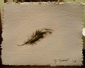 A little watercolor painting that I did a few weeks ago. I had forgotten my bag (with what I had planned to paint) and this feather was on the path as I walked to class