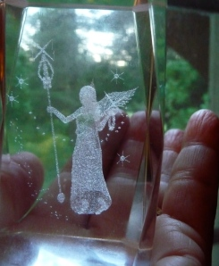 "I was speaking with a friend yesterday and she said, ""Do you have your magic wand?"" I had just picked up this little paperweight with the angel inside and had placed it by my phone...and was looking at it when she asked me that question!"
