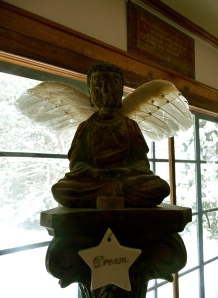 One of our Buddha statues wearing wings today