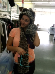 my niece Amanda (humoring me by trying on funny hats at the Goodwill in Biloxi)