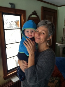 Sending thoughts of happiness and love (Griffin and happy grandmother, me, above!)